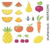 set of fruit and vegetable... | Shutterstock .eps vector #480592390