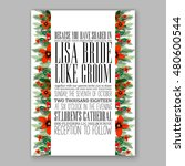 poinsettia wedding invitation... | Shutterstock .eps vector #480600544