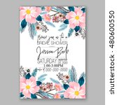 romantic pink peony bouquet...   Shutterstock .eps vector #480600550