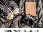 Wooden Notebook Camera Leather...