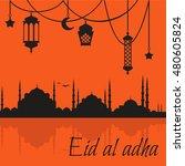 eid al adha muslim feast of the ... | Shutterstock .eps vector #480605824