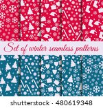 set of winter seamless patterns ... | Shutterstock .eps vector #480619348
