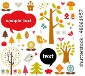 vector birds and trees set | Shutterstock .eps vector #48061957