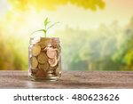 plant growing in savings coins... | Shutterstock . vector #480623626