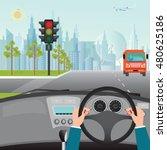 human hands driving a car on... | Shutterstock .eps vector #480625186
