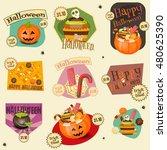 halloween stickers set  ... | Shutterstock .eps vector #480625390