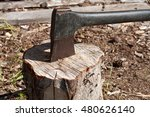 axe in the stump | Shutterstock . vector #480626140