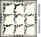 vintage design elements corners   Shutterstock .eps vector #480632383