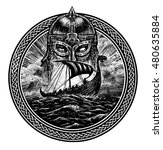 god odin storm sea and drakkar ....   Shutterstock . vector #480635884