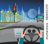 human hands driving a car on...   Shutterstock .eps vector #480652153