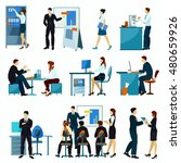 office workers flat set with...   Shutterstock . vector #480659926