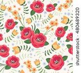 floral seamless pattern vector... | Shutterstock .eps vector #480689320