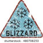blizzard warning sign  vector... | Shutterstock .eps vector #480708253