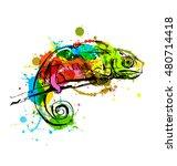 colored hand sketch chameleon.... | Shutterstock .eps vector #480714418