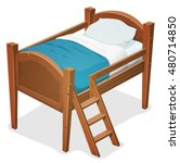 wood bed with ladder ...   Shutterstock .eps vector #480714850