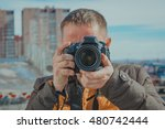 young proffesional photographer ... | Shutterstock . vector #480742444