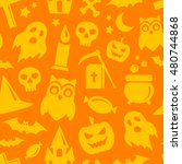 halloween seamless pattern in... | Shutterstock .eps vector #480744868
