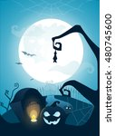 blue halloween background with... | Shutterstock . vector #480745600