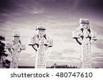 celtic carved stone cross... | Shutterstock . vector #480747610