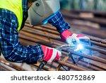 welder worker welding metal by... | Shutterstock . vector #480752869
