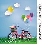bicycle in the garden with... | Shutterstock .eps vector #480754840