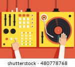 turntable with dj hands. vector ...