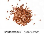 Flax Seeds On White Background
