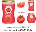 glass jar with red tomato paste ... | Shutterstock .eps vector #480791284