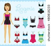 stylish lingerie vector set and ... | Shutterstock .eps vector #480818233