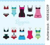 stylish lingerie vector set. | Shutterstock .eps vector #480818239