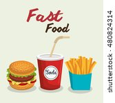 fast food burger design isolated | Shutterstock .eps vector #480824314