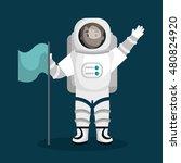 astronaut cartoon space isolated | Shutterstock .eps vector #480824920