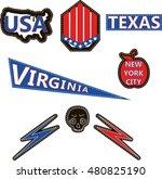 a set cartoon patch badges in...   Shutterstock .eps vector #480825190