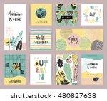 set of artistic creative autumn ... | Shutterstock .eps vector #480827638
