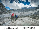 group of hikers with backpacks... | Shutterstock . vector #480828364