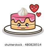 cartoon cake love dessert design | Shutterstock .eps vector #480828514