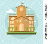 school building flat design...   Shutterstock .eps vector #480835030