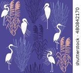 herons and marsh plants.... | Shutterstock .eps vector #480842170