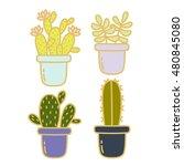 sets of four cute cartoon... | Shutterstock .eps vector #480845080