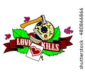 vector label with skull  rose ... | Shutterstock .eps vector #480866866
