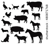 vector farm animals silhouettes ... | Shutterstock .eps vector #480871768