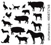 Vector Farm Animals Silhouette...
