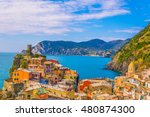aerial view of vernazza village ... | Shutterstock . vector #480874300