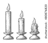 set burning candles with holder ... | Shutterstock .eps vector #480876820