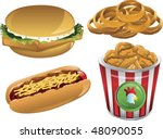 illustration of a fish sandwich ... | Shutterstock .eps vector #48090055