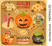 halloween poster   symbols and... | Shutterstock .eps vector #480906130
