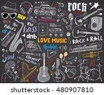 music instruments set. hand... | Shutterstock . vector #480907810