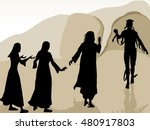 jesus raised lazarus from the... | Shutterstock .eps vector #480917803