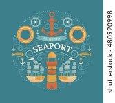 vector concept with sea symbols....   Shutterstock .eps vector #480920998