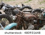 Old Rusty Motorcycles In Field...